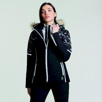 Women's Providence Luxe Ski Jacket Black Marble Print
