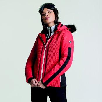 Women's Statement Luxe Ski Jacket Lollipop Red Black