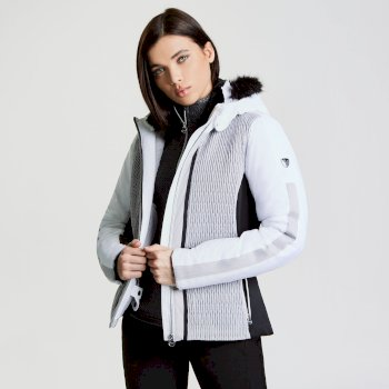 35e9703ee0 Women s Statement Luxe Ski Jacket White Silver Flash Black