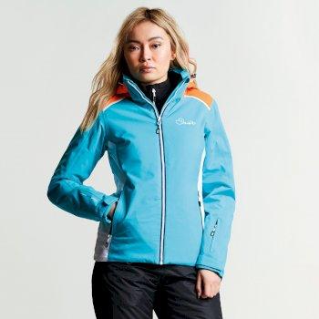 Women's Inflect Ski Jacket Aqua Blue Vibrant Orange