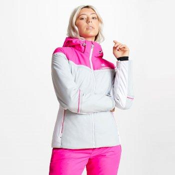 Women's Icecap Ski Jacket Argent Grey Cyber Pink