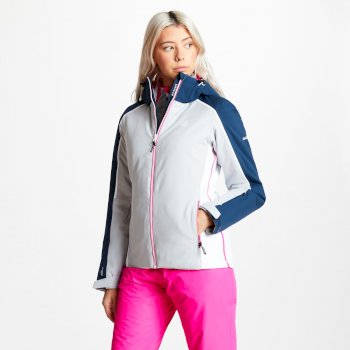 Women's Comity Ski Jacket Argent Grey Blue Wing