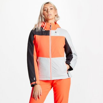 Women's Purview Ski Jacket Argent Grey Fiery Coral Ebony