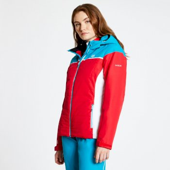 Women's Sightly Ski Jacket Lollipop Red Freshwater Blue