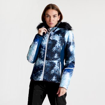 Women's Iceglaze Faux Fur Trim Luxe Ski Jacket Blue Wing