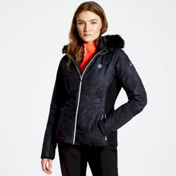 Women's Iceglaze Faux Fur Trim Luxe Ski Jacket Black
