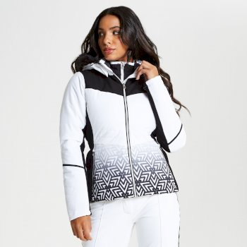 Women's Iceglaze Faux Fur Trim Luxe Ski Jacket White