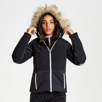 Women's Manifesto Faux Fur Trim Luxe Ski Jacket Black