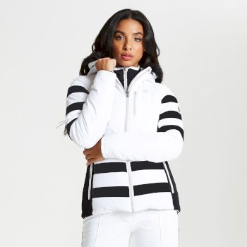 Women's Snowglow Faux Fur Trim Luxe Ski Jacket White Black