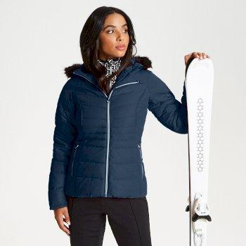 Veste de ski technique, design et élégante Femme GLAMORIZE avec capuche bordée de fausse fourrure Bleu