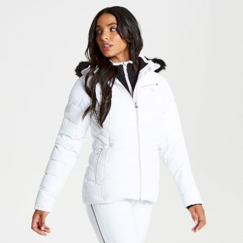Women's Glamorize Faux Fur Trim Luxe Ski Jacket White