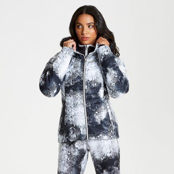 Veste de ski technique, design et élégante Femme GLAMORIZE avec capuche bordée de fausse fourrure Gris