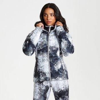 Women's Glamorize Faux Fur Trim Luxe Ski Jacket Monochrome Snakeskin Print