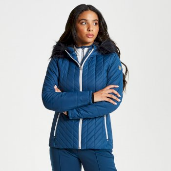 Women's Icebloom Luxe Faux Fur Trimmed Quilted Ski Jacket Blue Wing