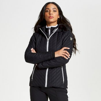 Women's Icebloom Luxe Faux Fur Trimmed Quilted Ski Jacket Black