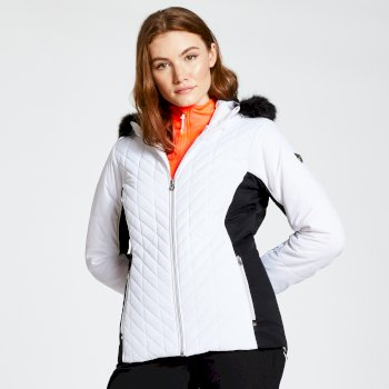 Women's Icebloom Luxe Faux Fur Trimmed Quilted Ski Jacket White