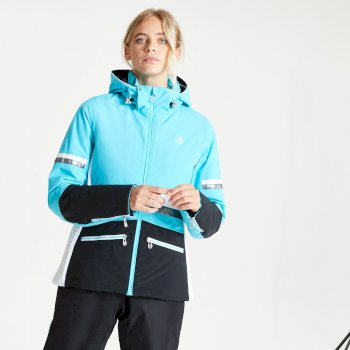 Women's Evidence Waterproof Insulated Hooded Ski Jacket Azure Blue Black