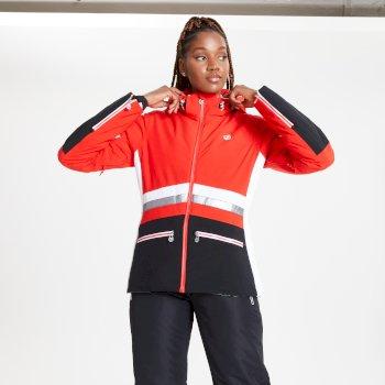 Veste de ski à capuche Femme imperméable et isolante EVIDENCE Rouge