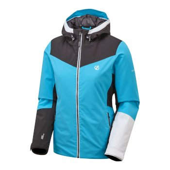 Women's Ice Gleam Waterproof Insulated Hooded Ski Jacket Azure Blue Black