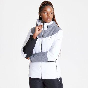 Veste de ski à capuche Femme imperméable et isolante ICE GLEAM  Blanc