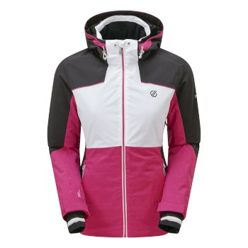 Women's Flourish Waterproof Insulated Hooded Ski Jacket Active Pink White