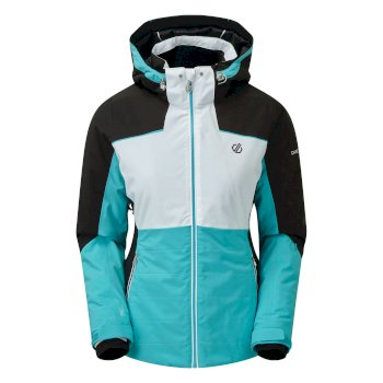 Women's Flourish Waterproof Insulated Hooded Ski Jacket Azure Blue White