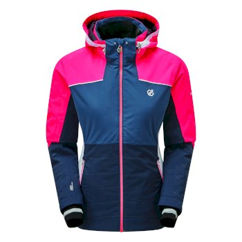 Women's Flourish Waterproof Insulated Hooded Ski Jacket Nightfall Navy Dark Denim