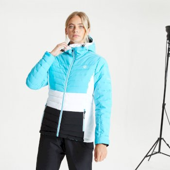 Women's Succeed Waterproof Insulated Quilted Hooded Ski Jacket Azure Blue Black