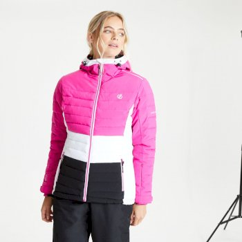 Women's Succeed Waterproof Insulated Quilted Hooded Ski Jacket Active Pink Black