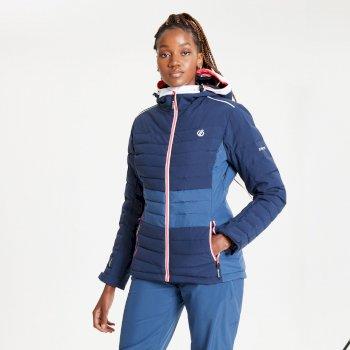 Veste de ski à capuche Femme matelassée imperméable et isolante SUCCEED Bleu