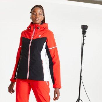 Veste de ski à capuche Femme imperméable et isolante ENCLAVE Rouge
