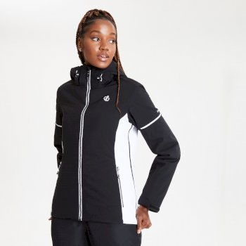 Women's Enclave Waterproof Insulated Hooded Ski Jacket Black White