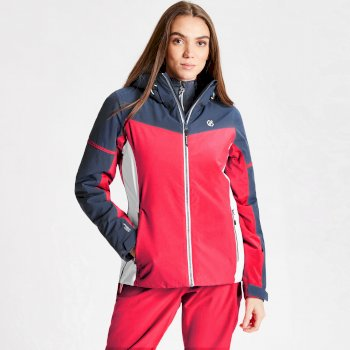Women's Enclave Waterproof Insulated Hooded Ski Jacket Neon Pink Dark Denim