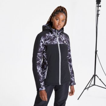 Women's Burgeon Waterproof Insulated Hooded Ski Jacket Black