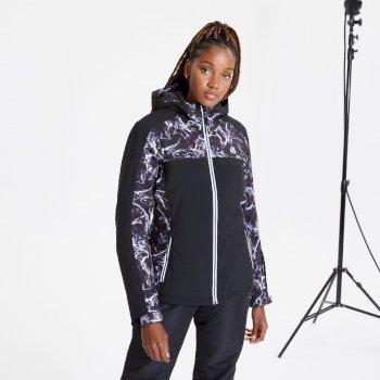Veste de ski à capuche Femme imperméable et isolante BURGEON avec imprimé Noir