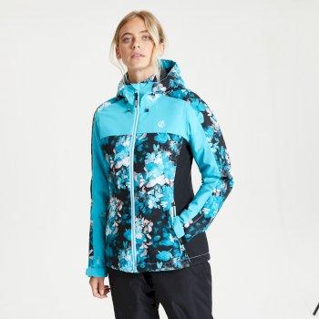 Veste de ski à capuche Femme imperméable et isolante BURGEON avec imprimé Bleu