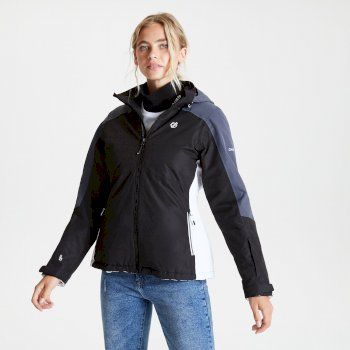 Women's Radiate Waterproof Insulated Hooded Ski Jacket Black Ebony Grey