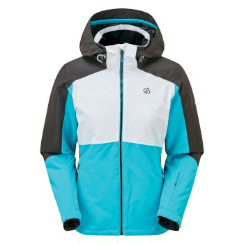 Women's Radiate Waterproof Insulated Hooded Ski Jacket Azure Blue White