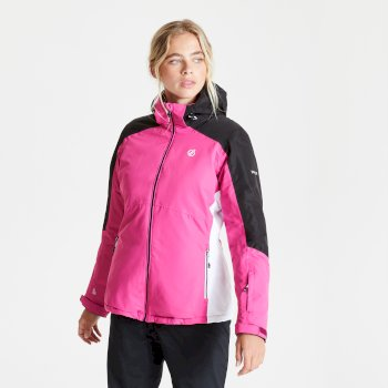 Women's Radiate Waterproof Insulated Hooded Ski Jacket Active Pink Black