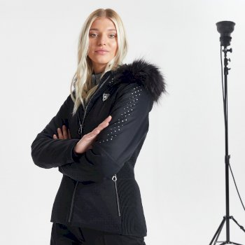 Veste de ski à capuche Femme imperméable et isolante BEJEWEL avec capuche bordée de fause fourrure - Collection Luxe Noir
