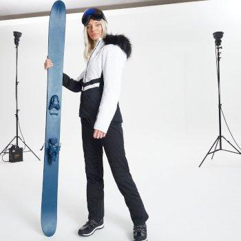 Veste de ski à capuche Femme imperméable et isolante BEJEWEL avec capuche bordée de fause fourrure - Collection Luxe Blanc
