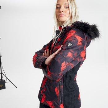 Veste de ski à capuche Femme imperméable et isolante AURORAL avec capuche bordée de fause fourrure - Collection Luxe Rouge