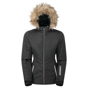 Swarovski Embellished - Women's Auroral Waterproof Insulated Fur Trim Hooded Luxe Ski Jacket Black