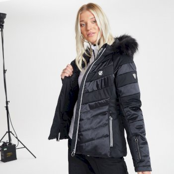 Swarovski Embellished - Women's Dazzling Waterproof Insulated Quilted Fur Trim Hooded Luxe Ski Jacket Black