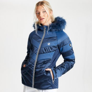 Swarovski Embellished - Women's Dazzling Waterproof Insulated Quilted Fur Trim Hooded Luxe Ski Jacket Dark Denim Nightfall Navy
