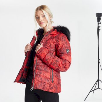Swarovski Embellished - Women's Glamorize II Waterproof Insulated Quilted Fur Trim Hooded Luxe Ski Jacket Seville Red