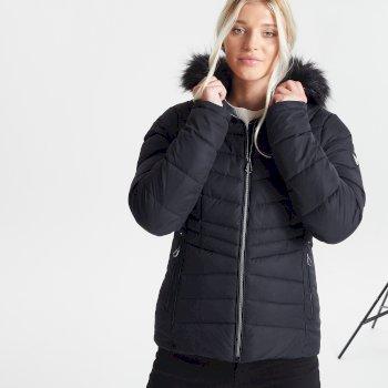 Veste de ski à capuche Femme imperméable et isolante GLAMORIZE II avec capuche bordée de fause fourrure - Collection Luxe Noir