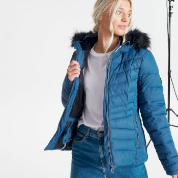 Swarovski Embellished - Women's Glamorize II Waterproof Insulated Quilted Fur Trim Hooded Luxe Ski Jacket Dark Denim