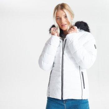 Swarovski Embellished - Women's Glamorize II Waterproof Insulated Quilted Fur Trim Hooded Luxe Ski Jacket White