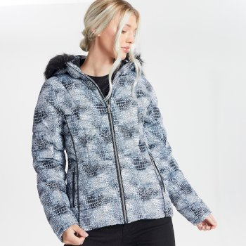 Swarovski Embellished - Women's Glamorize II Waterproof Insulated Quilted Fur Trim Hooded Luxe Ski Jacket Monochrome
